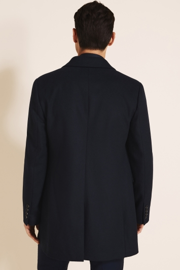 DKNY Slim Fit Navy Overcoat