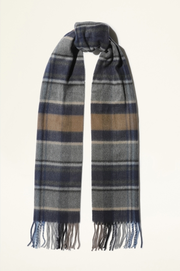 Moss Bros. Navy, Grey & Camel Checked Cashmink Scarf