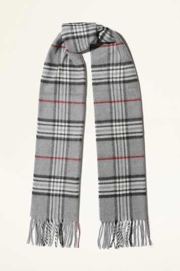 Moss Bros. Grey, Black & Red Plaid Cashmink Scarf