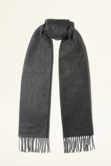 Moss Bros. Charcoal & Grey Double-Sided Plain Cashmink Scarf