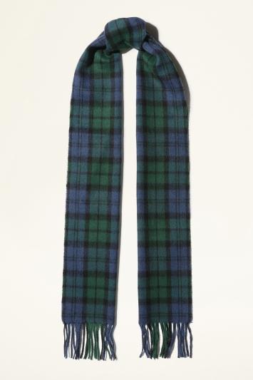 Moss Bros. Navy & Green Blackwatch Checked Wool Scarf
