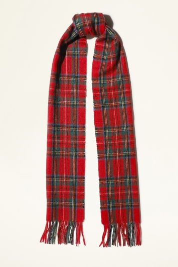 Moss Bros. Red & Green Royal Stewart Checked Wool Scarf