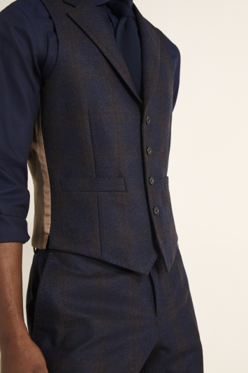 Tailored Fit Navy with Red Check Waistcoat