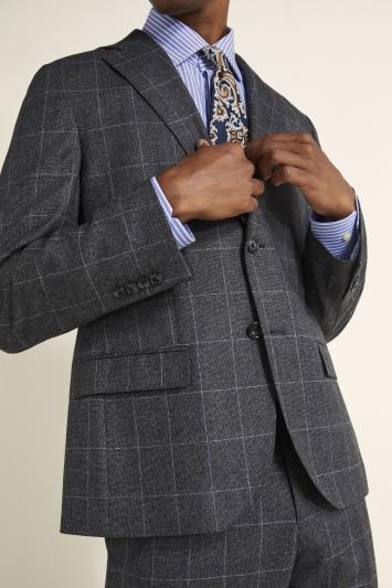 Tailored Fit Grey Windowpane Jacket