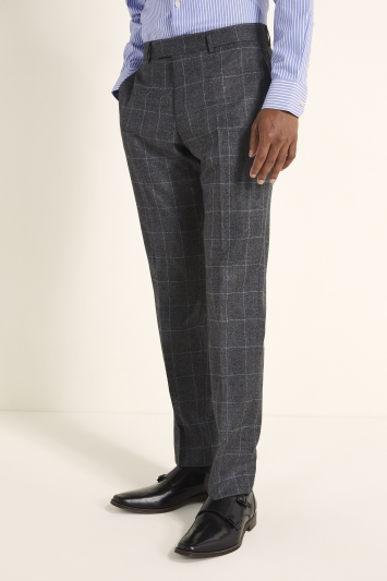 Tailored Fit Grey Windowpane Trousers