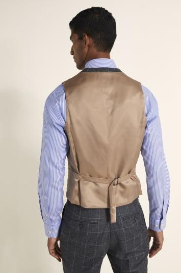 Tailored Fit Grey Windowpane Waistcoat