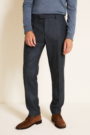 Tailored Fit Blue Puppytooth Trousers