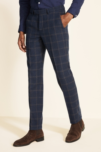 Moss 1851 Tailored Fit Navy Check Tweed Trousers