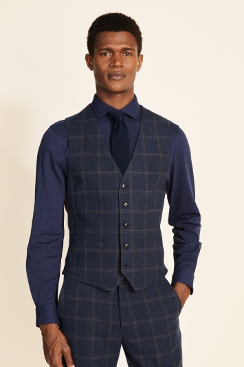 Moss 1851 Tailored Fit Navy Check Tweed Waistcoat
