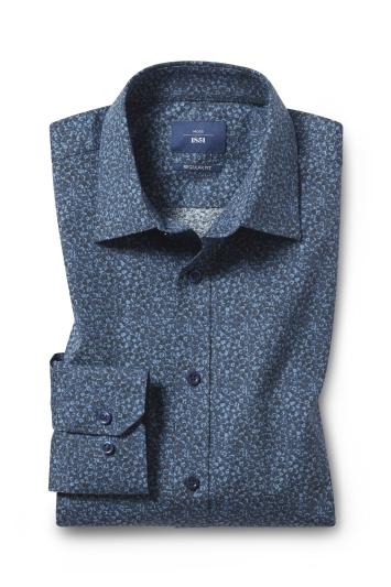 Moss 1851 Regular Fit Navy Floral Single Cuff Shirt