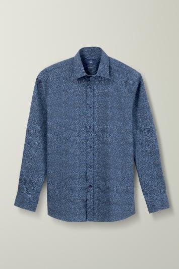 Regular Fit Navy Floral Shirt