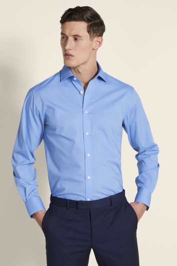 Moss 1851 Regular Fit Mid-Blue Poplin Single Cuff Shirt