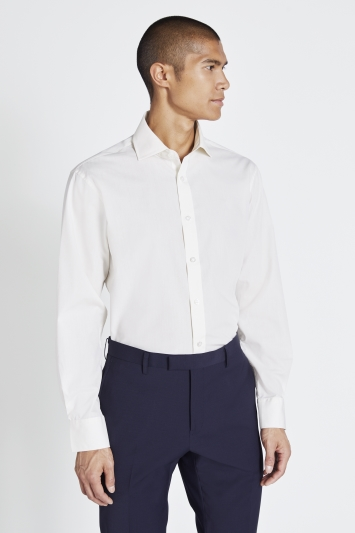 Moss 1851 Regular Fit Ivory Poplin Single Cuff Shirt
