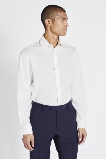 Regular Fit Ivory Poplin Shirt