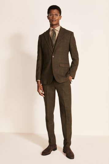 Moss 1851 Tailored Fit Tan Check Tweed Jacket