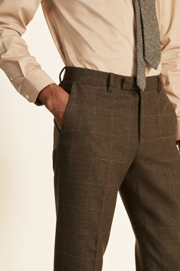 Moss 1851 Tailored Fit Tan Check Tweed Trousers