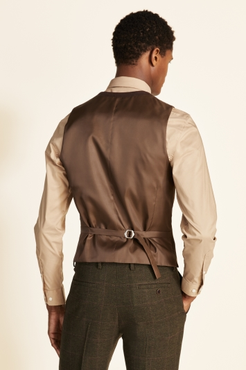 Moss 1851 Tailored Fit Tan Check Tweed Waistcoat