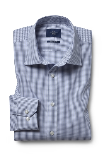 Moss 1851 Regular Fit Navy Check Twill Single Cuff Shirt