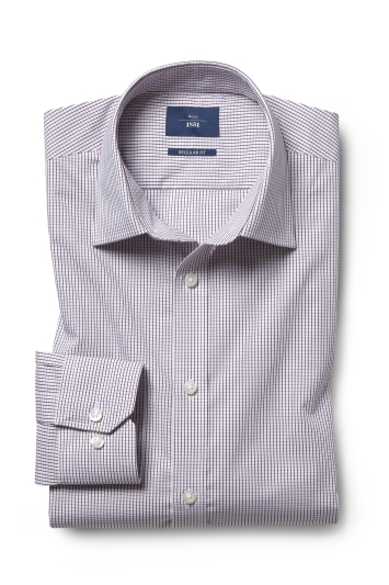 Moss 1851 Regular Fit Wine Check Twill Single Cuff Shirt