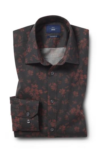 Moss 1851 Tailored Fit Berry Print Single Cuff Shirt