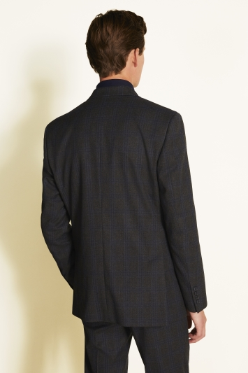 Moss 1851 Tailored Fit Charcoal Blue Check Jacket