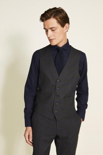 Moss 1851 Charcoal Blue Check Waistcoat
