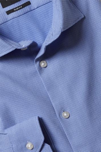 Moss London Slim Fit Blue Comfort Stretch Single Cuff Shirt