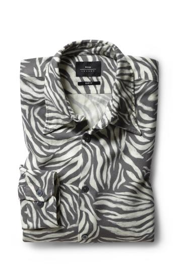 Moss London Slim Fit Zebra Print Single Cuff Shirt