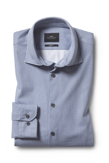 Moss London Slim Fit Comfort Stretch Navy Geo Floral Single Cuff Shirt