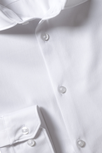 Moss London Slim Fit White Comfort Stretch Single Cuff Shirt