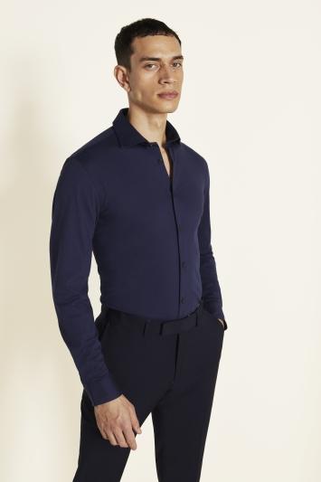 Moss London Slim Fit Navy Comfort Stretch Single Cuff Shirt