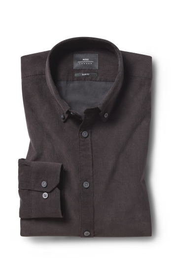 Moss London Slim Fit Brown Cord Single Cuff Shirt
