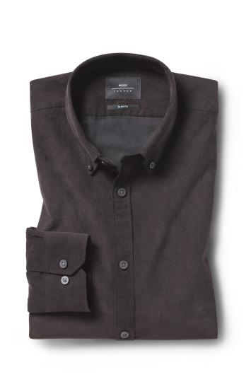 Moss London Slim Fit Brown Cord Single Cuff Shirt