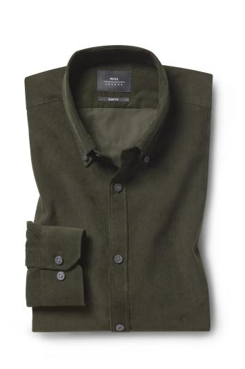Slim Fit Green Cord Shirt