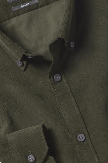 Moss London Slim Fit Green Cord Single Cuff Shirt