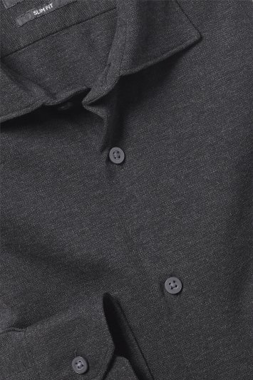 Moss London Slim Fit Charcoal Knit Single Cuff Shirt