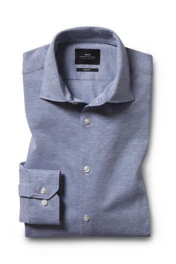 Moss London Slim Fit Navy Knit Dobby Single Cuff Shirt