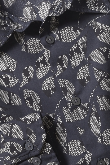 Moss London Slim Fit Navy Snake Print Single Cuff Shirt