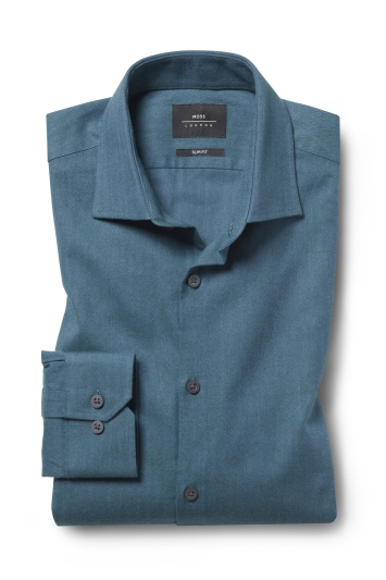 Moss London Slim Fit Teal Brushed Single Cuff Shirt