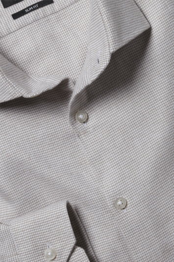 Moss London Slim Fit Neutral Brushed Puppytooth Single Cuff Shirt