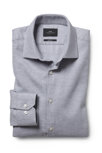 Moss London Slim Fit Grey Brushed Herringbone Single Cuff Shirt