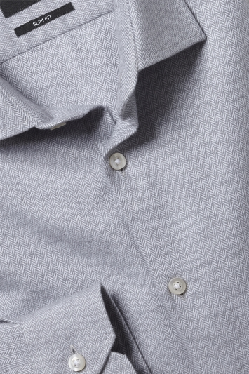 Moss London Slim Fit Grey Brushed Herringbone Single Cuff Shirt