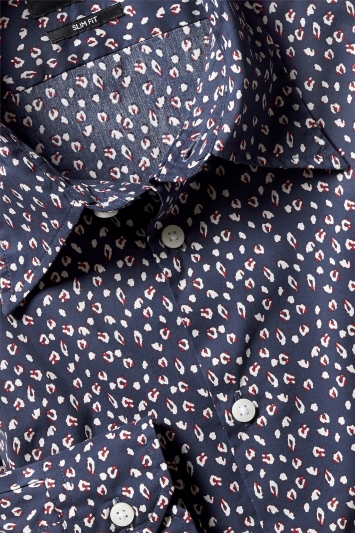 Slim Fit Navy Cheetah Print Shirt