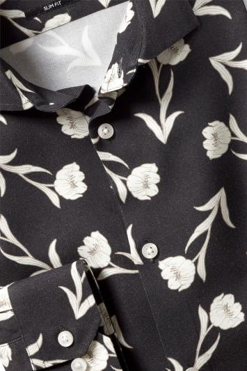 Moss London Slim Fit Ecru Floral Print Single Cuff Shirt