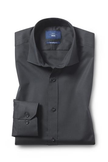 Moss 1851 Tailored Fit Black Poplin Non-Iron Single Cuff Shirt