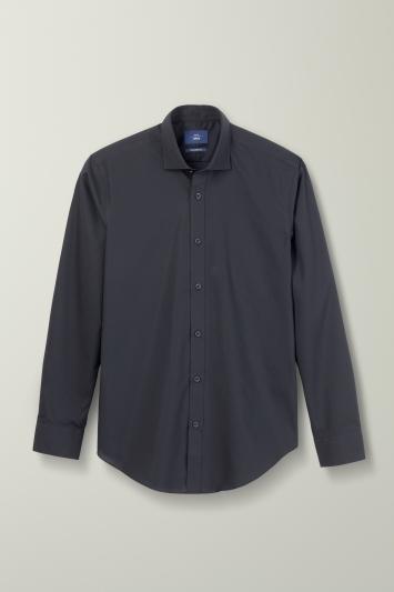 Tailored Fit Black Poplin Non Iron Shirt