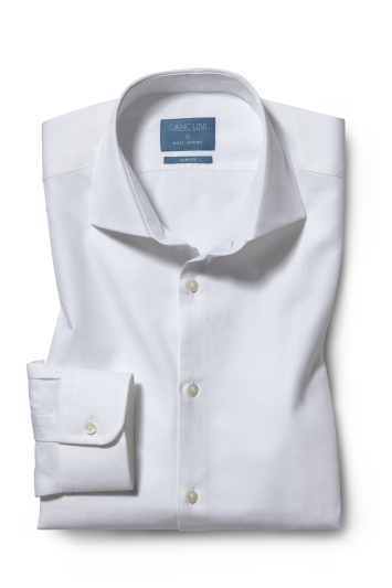 Moss London Canclini Slim Fit White Twill Organic Cotton Single Cuff Shirt