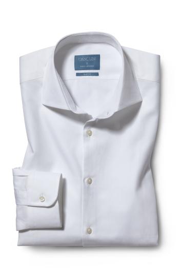 Slim Fit White Canclini Twill Shirt