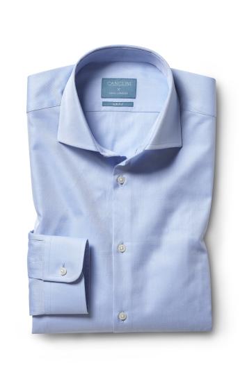 Moss London Canclini Slim Fit Sky Twill Organic Cotton Single Cuff Shirt