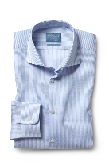 Moss London Canclini Slim Fit Sky Stripe Organic Cotton Single Cuff Shirt